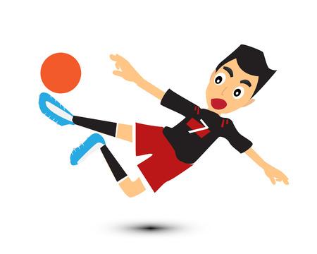 sports winner: cartoon man play soccer vector. Illustration