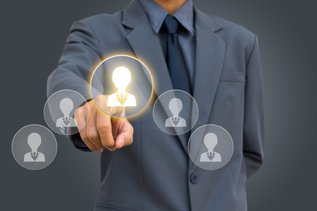 Zakenman uitgezocht Keuze werknemer human resource-systeem. Stockfoto
