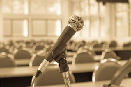 Microfoon vervagen concept in klaslokaal. Stockfoto