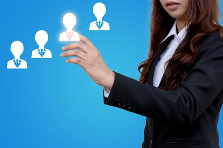 Business vrouwen kiezen werknemer.