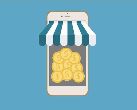 Mobiele bank geld Geld vector illustratie. Stock Illustratie