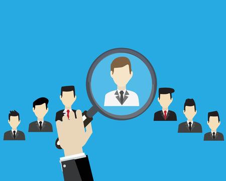 Human resources management select werknemer met vergrootglas.