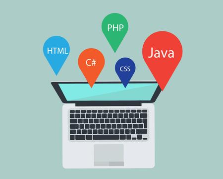 programmeren laptop en taal met de ontwikkelaar. Stock Illustratie