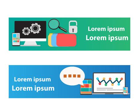 Web banner vector informatie technologie concept. Stock Illustratie