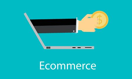 e commerce: E commerce concept  flat design. Stock Photo