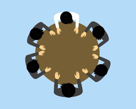 mensen bovenaanzicht vergadering