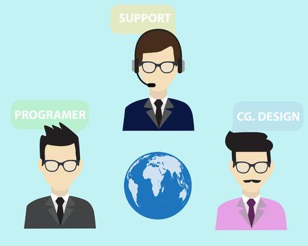 Werknemer voor informatie systeem flat design vector. Stock Illustratie
