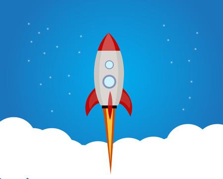 launcher: Start-up rocket  Rocket launcher object vector.