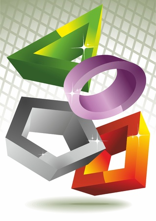 3d geometry: Circle, square, polygon, triangle. Vector.  Illustration