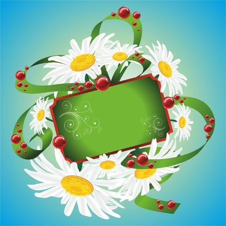 Green plaque with space for your text. Daisies with a ribbon. Vector illustration.