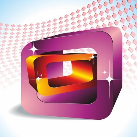 3D Geometric Shapes: 2 rectangles. Vector Image. Illustration
