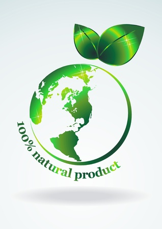 100% natural product. Symbol green planet in the form of an apple. Vector illustration.