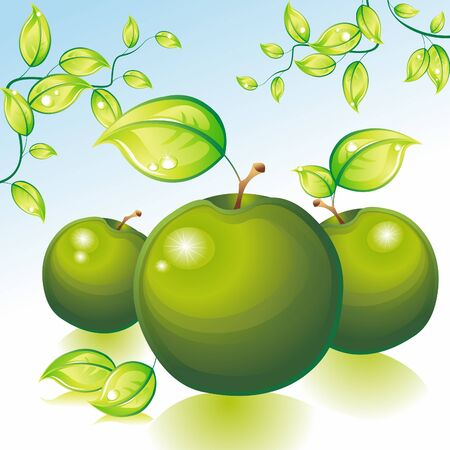 Grüne Äpfel auf einem weißen Tisch vor dem Hintergrund einer Apfelplantage. Vektor-Illustration.