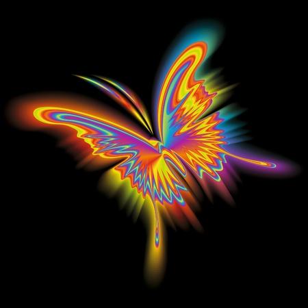 farfalla nera: Farfalla arcobaleno astratto in volo su sfondo nero. Illustrazione vettoriale.