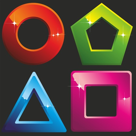 polygons: 4 colored geometric shapes: square, circle, triangle, polygon. Vector Image. Illustration