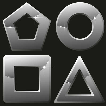 4 silver geometric shapes: square, circle, triangle, polygon. Vector Image.
