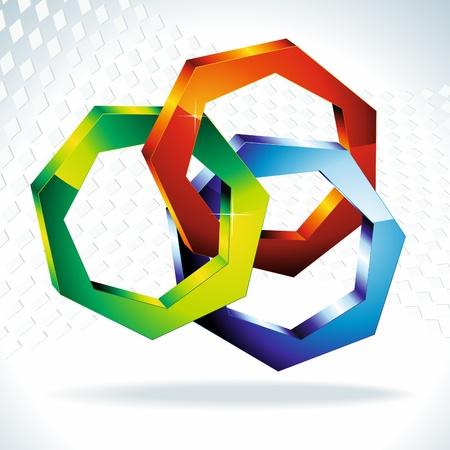 poligonos: formas geom�tricas 3D. Colorido pol�gonos 3D. Vector.