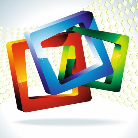 3d geometric shapes. Multi-colored squares 3d. Vector.