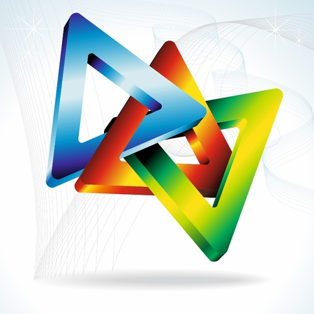 3d geometric shapes. Colorful 3D triangles. Vector.