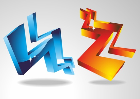 3d geometric shapes. Red and blue zigzags 3d. Vector.