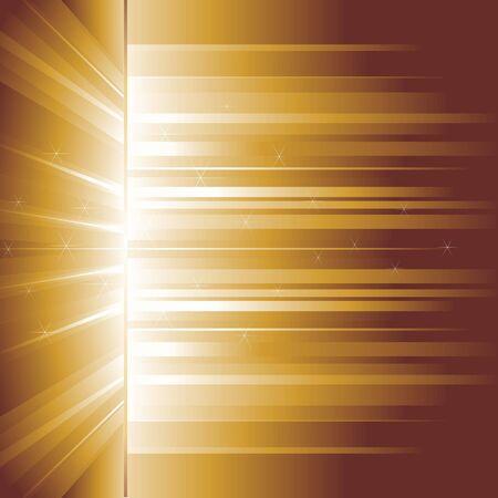 Golden glow. Golden rays. Vector background.