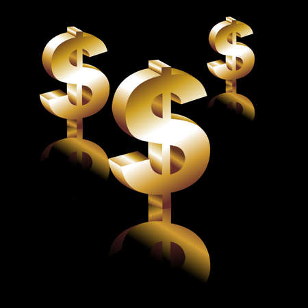 treasury: Dollar sign. 3d gold dollar. Vector.