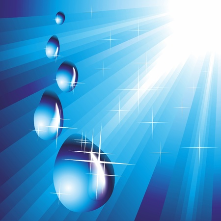 Falling drops of water on a blue background. Vector illustration