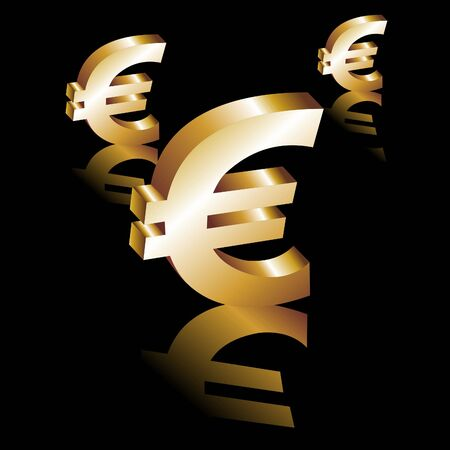 currency glitter: Euro symbol. Gold Euro 3d. Vector.