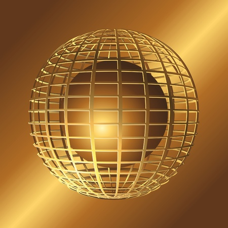 Gold 3d abstract sphere. Vector illustration.