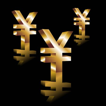 currency glitter: Symbol enes. Gold ene 3d. Vector.