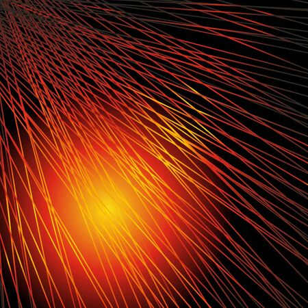 Abstract background with the lines, shined with red-yellow light. A vector. Stock Photo