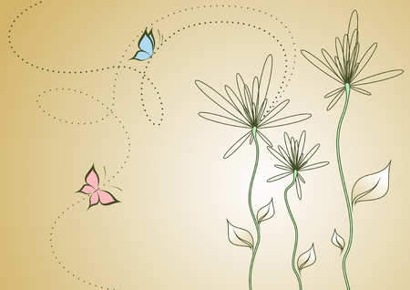 Background with abstract colors and butterflies. Illustration