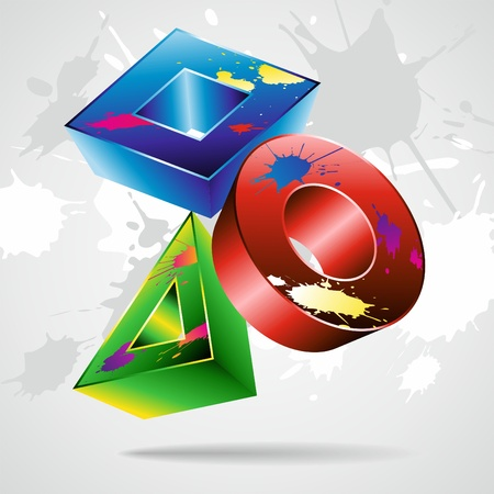 Geometrical figures 3D in a paint.  Vector