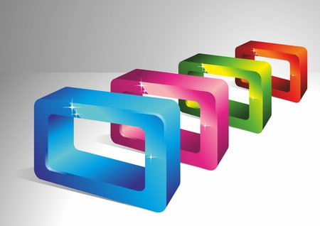 3D color rectangles. Geometrical forms. A vector