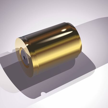 Gold battery on a gray background. A vector illustration. Illustration