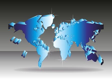 The dark blue world map 3D. A vector illustration.