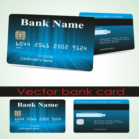 debit cards: Bank card customer. Vector.