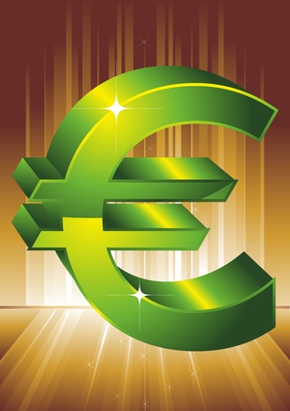 Green symbol of euro. A vector illustration.