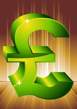 Green symbol of pound. A vector illustration.