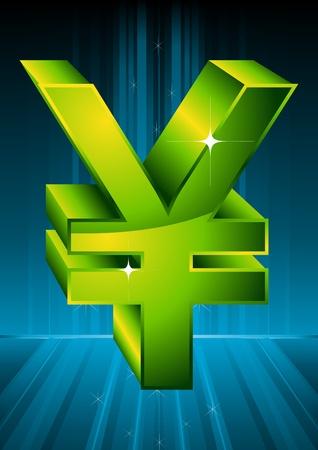 Green symbol yuan. A vector illustration.