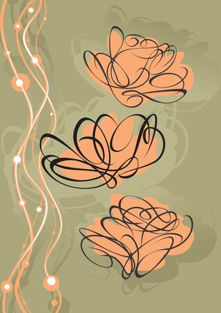 modern garden: Roses beige with a black contour. A vector illustration.