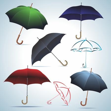 Umbrellas of different colors. A vector.