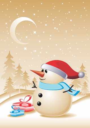 hat new year s eve: Snowman with gift for you. New year and Christmas. A vector illustration.