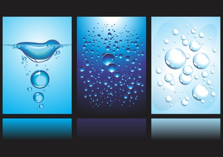 Vector Banners with water and bubbles