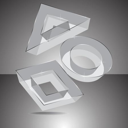 Geometrical transparent figures 3D Illustration