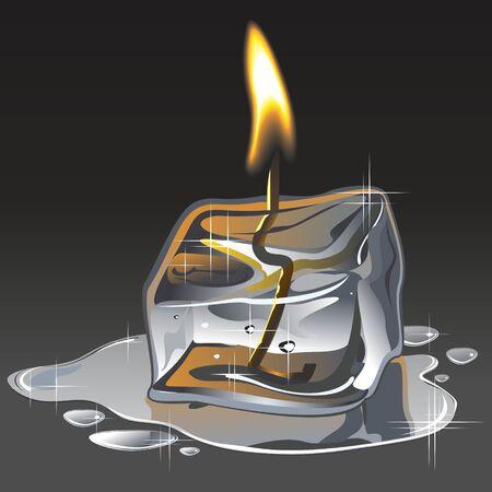 fire and ice: Ijs en vuur een kaars van een ijsblokje