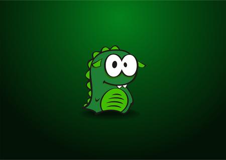 Cartoon Dinosaur on a green background vector illustration. Illustration