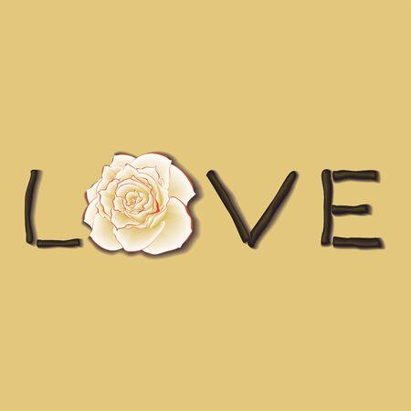 Design card with inscription LOVE. Vector illustration. Illustration