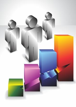 People 3D. Economics. Vector. Illustration