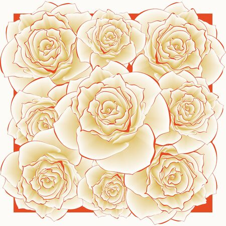 Vector cute roses in vintage style for design